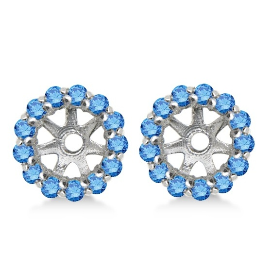 Round Blue Diamond Earring Jackets for 4mm Studs 14K White Gold (0.35ct)