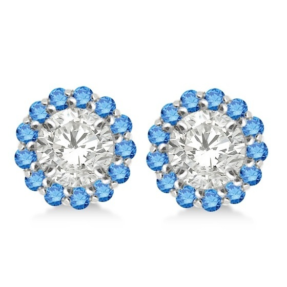 Round Blue Diamond Earring Jackets for 8mm Studs 14K White Gold (0.64ct)