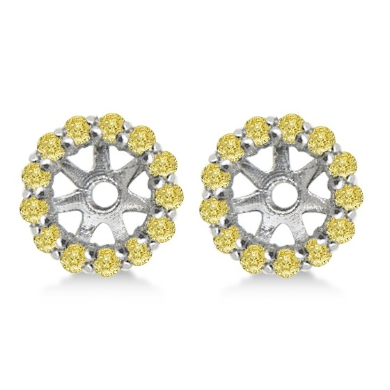 Round Yellow Diamond Earring Jackets for 6mm Studs 14K W. Gold (0.55ct)