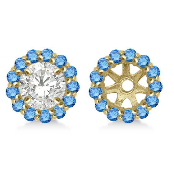 Round Blue Diamond Earring Jackets for 4mm Studs 14K Yellow Gold (0.35ct)