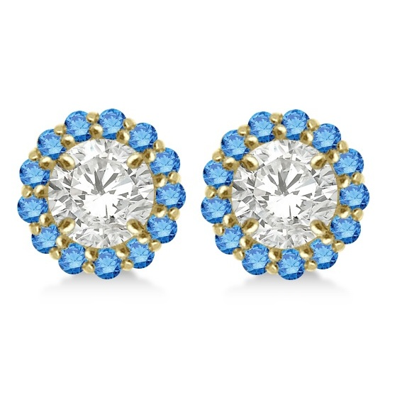 Round Blue Diamond Earring Jackets for 8mm Studs 14K Yellow Gold (0.64ct)