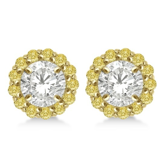 Round Yellow Diamond Earring Jackets for 4mm Studs 14K Y. Gold (0.35ct)