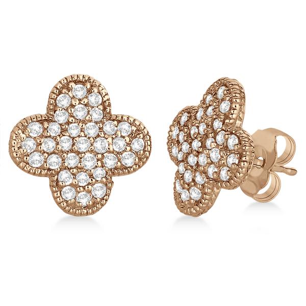 Four Leaf Clover Diamond Stud Earrings 14k Rose Gold (0.75ct)
