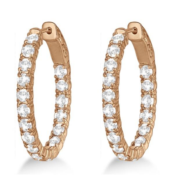 Oval-Shaped Diamond Hoop Earrings 14k Rose Gold (3.57ct)
