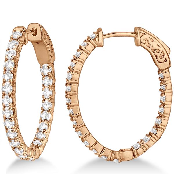 Fancy Small Oval-Shaped Diamond Hoop Earrings 14k Rose Gold (2.16ct)