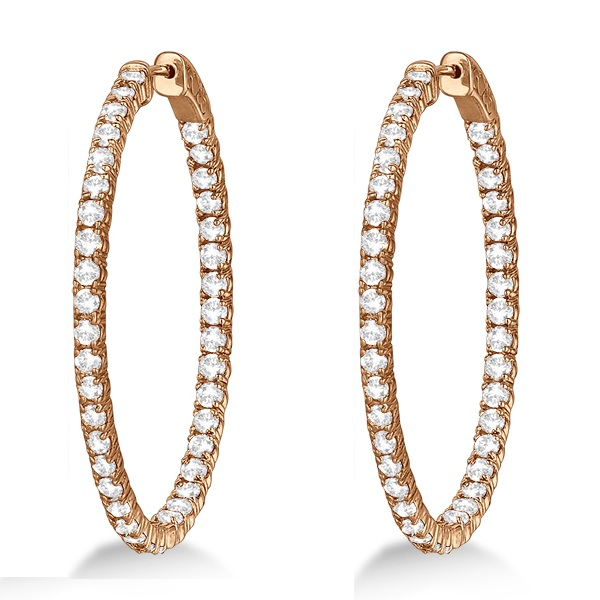 Fancy Large Oval-Shaped Diamond Hoop Earrings 14k Rose Gold (5.46ct)