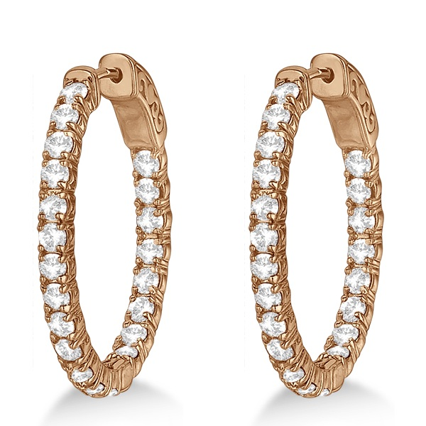 Small Oval-Shaped Diamond Hoop Earrings 14k Rose Gold (2.94ct)