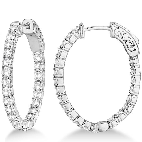 Fancy Small Oval-Shaped Diamond Hoop Earrings 14k White Gold (2.16ct)