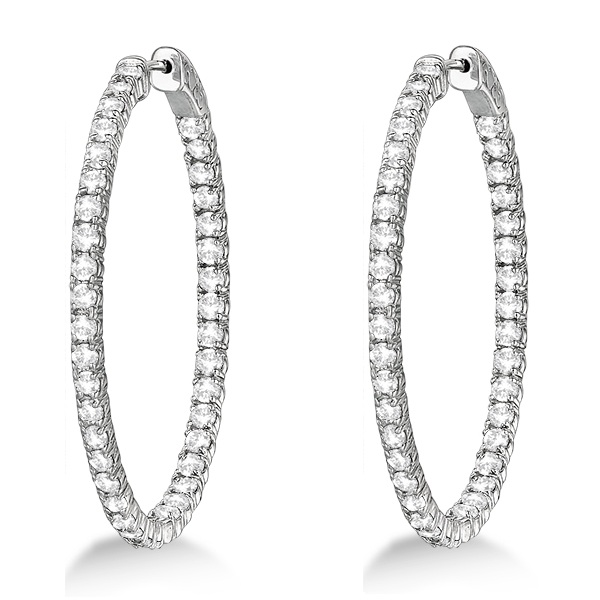 large oval shaped diamond hoop earrings 14k white gold 5. Black Bedroom Furniture Sets. Home Design Ideas