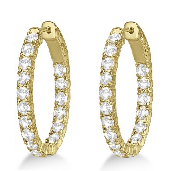 Oval-Shaped Diamond Hoop Earrings 14k Yellow Gold (3.57ct)