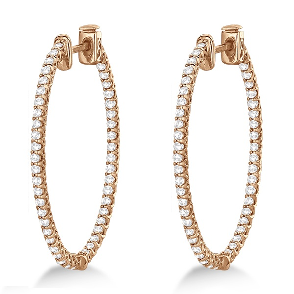 Lucida Oval-Shaped Diamond Hoop Earrings 14k Rose Gold (2.00ct)