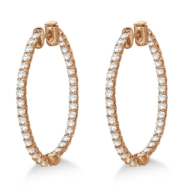 Large Oval-Shaped Diamond Hoop Earrings 14k Rose Gold (3.51ct)