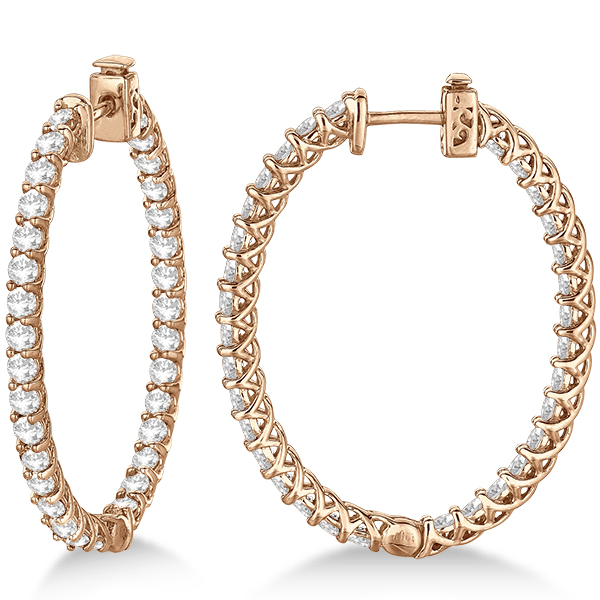 Lucida Oval-Shaped Diamond Hoop Earrings 14k Rose Gold (4.52ct)