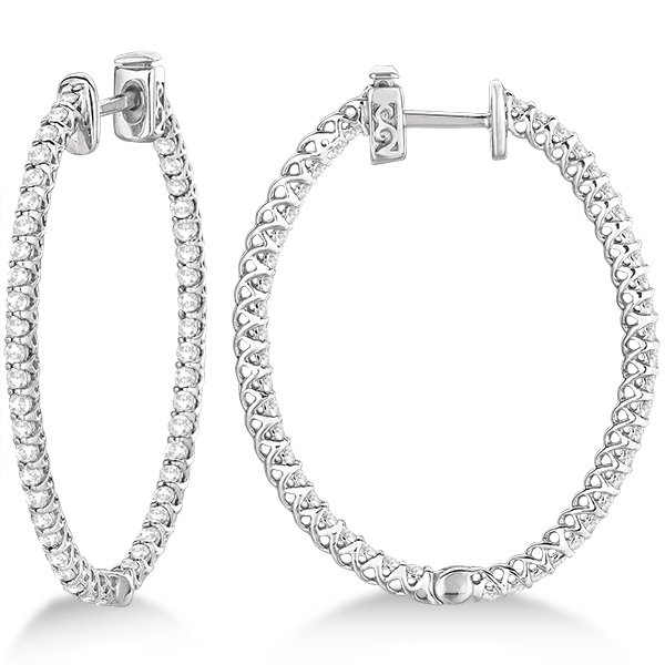 Lucida Oval-Shaped Diamond Hoop Earrings 14k White Gold (2.00ct)