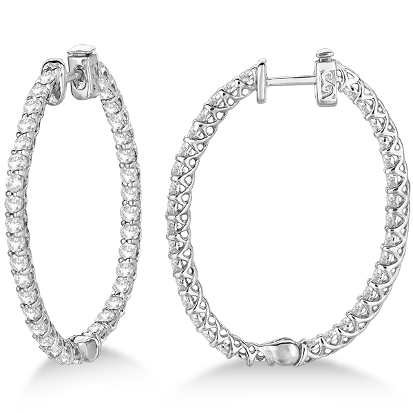 large oval shaped diamond hoop earrings 14k white gold 3. Black Bedroom Furniture Sets. Home Design Ideas