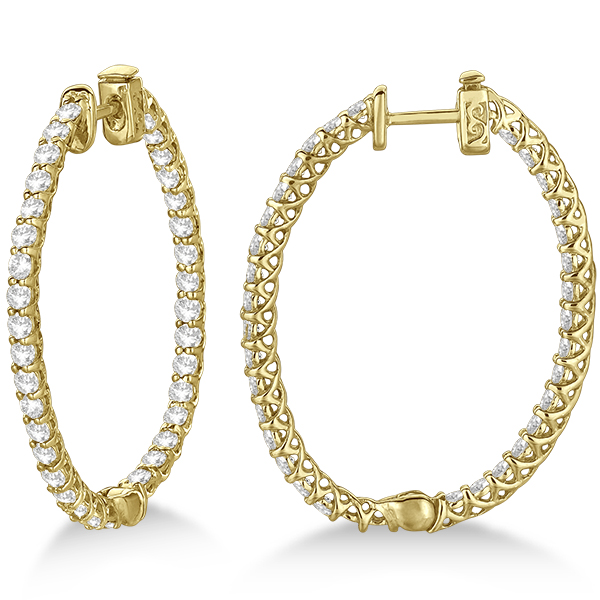 Large Oval-Shaped Diamond Hoop Earrings 14k Yellow Gold (3.51ct)