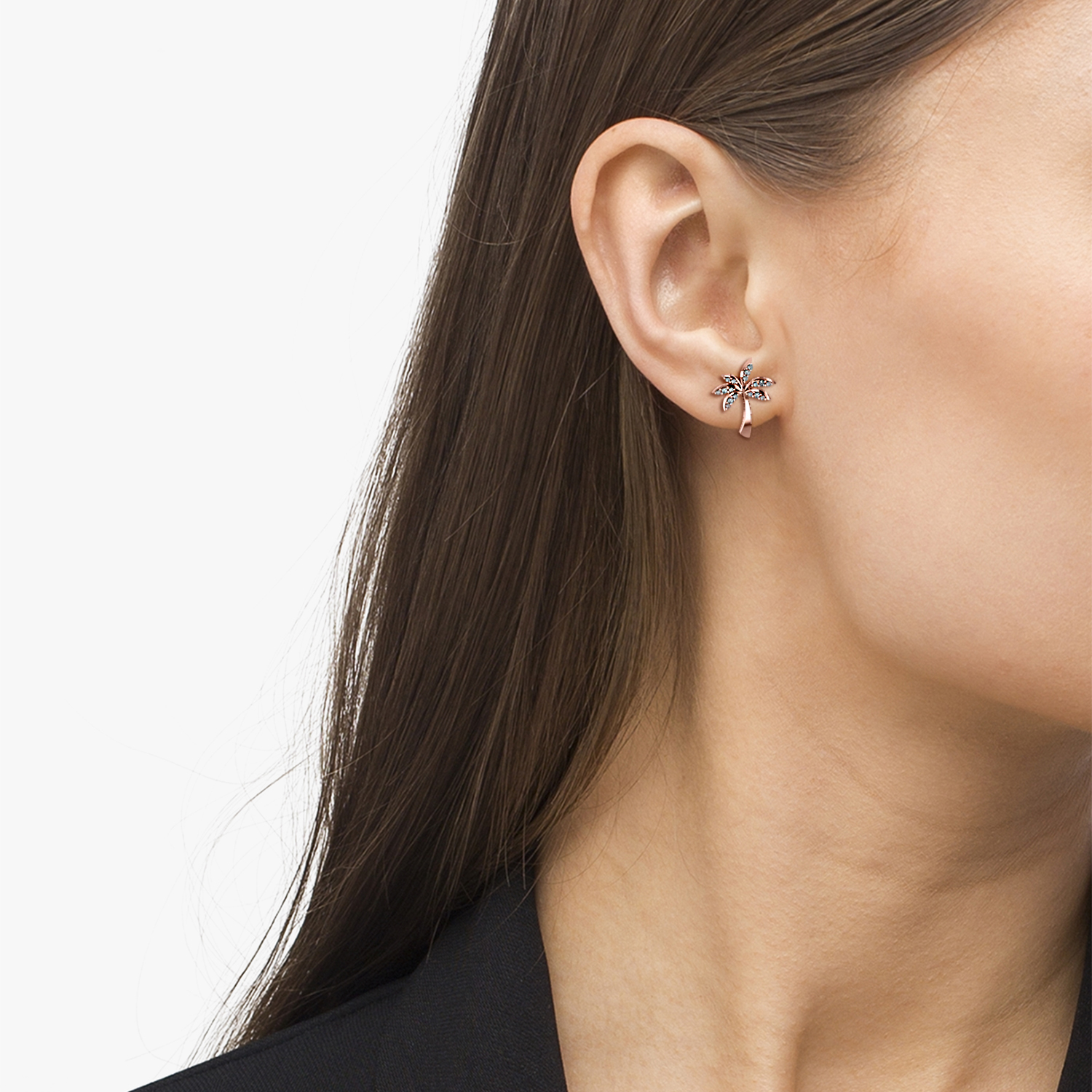 Diamond Palm Tree Summer Earrings 14k Rose Gold (0.20ct)