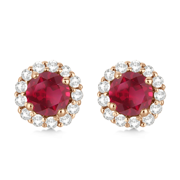 Halo Diamond Accented and Ruby Earrings 14K Rose Gold (2.95ct)