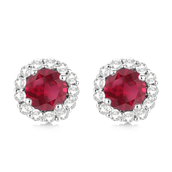 Halo Diamond Accented and Ruby Earrings 14K White Gold (2.95ct)