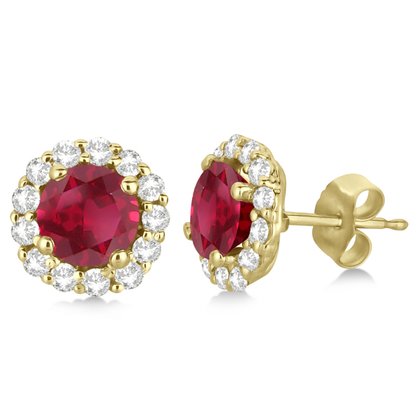 Halo Diamond Accented and Ruby Earrings 14K Yellow Gold (2.95ct)