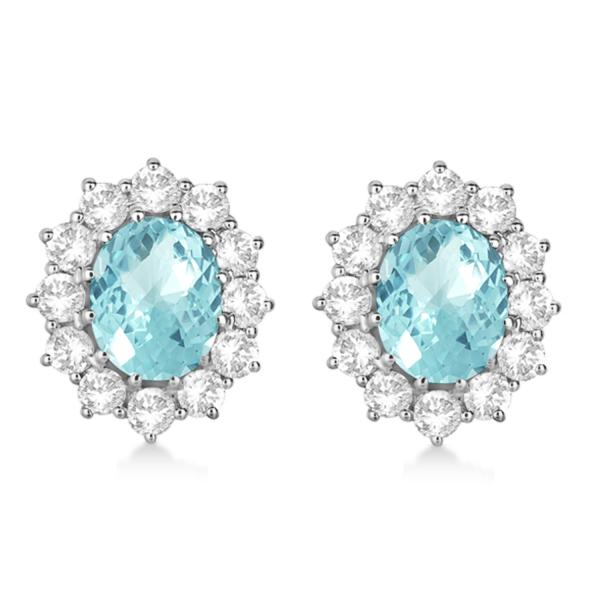 Oval Aquamarine & Diamond Accented Earrings 14k White Gold (7.10ctw)