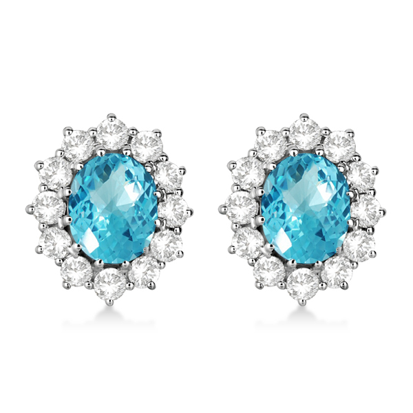 Oval Blue Topaz & Diamond Accented Earrings 14k White Gold (7.10ctw)