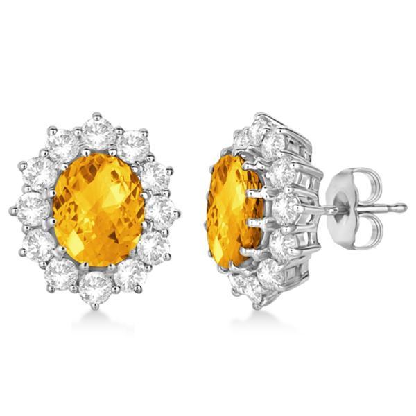 Oval Citrine and Diamond Earrings 14k White Gold (7.10ctw)