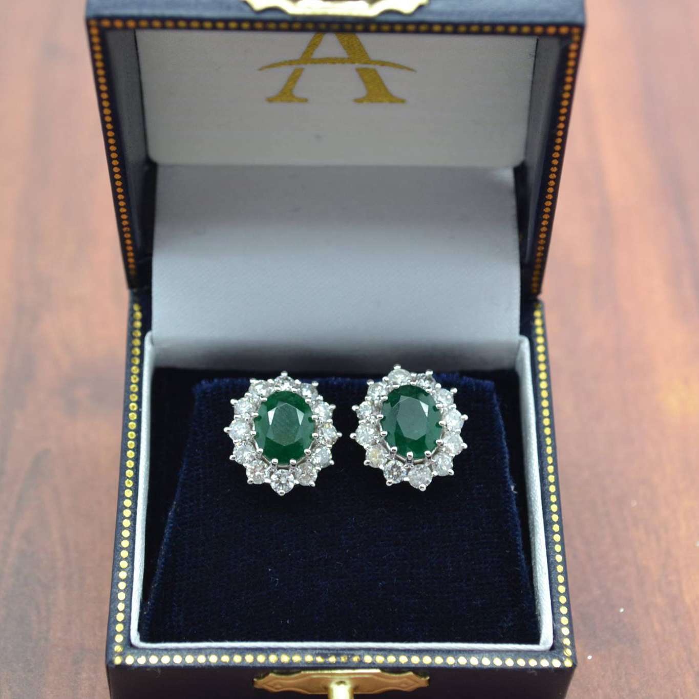 Oval Emerald and Diamond Earrings 14k White Gold (7.10ctw)