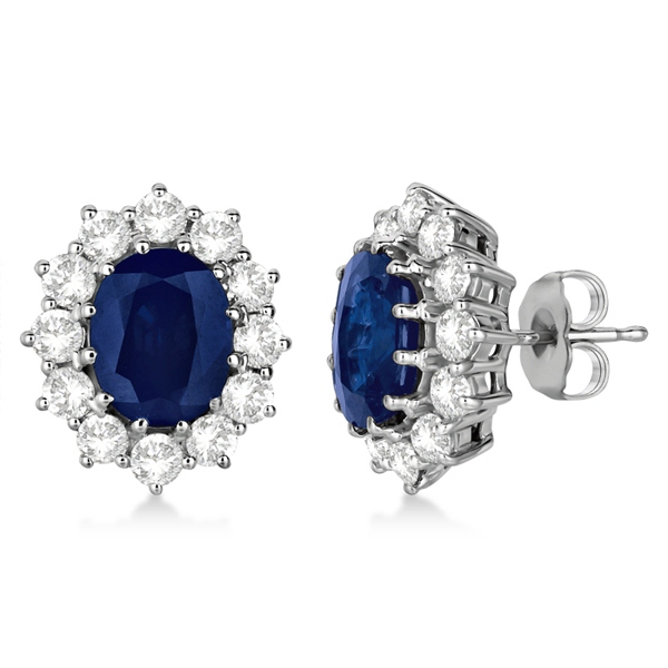 gold gemstone earrings blue v sapphire white stud in saphire p