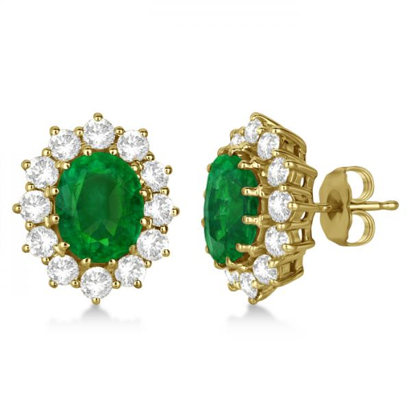 Oval Emerald and Diamond Earrings 14k Yellow Gold (7.10ctw)