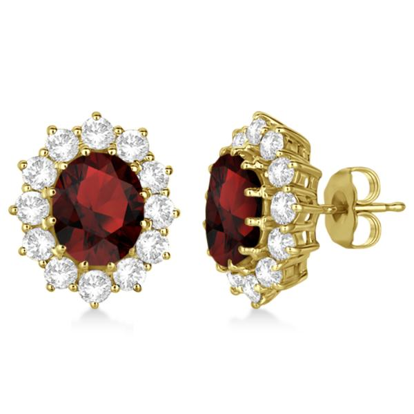Oval Garnet and Diamond Earrings 14k Yellow Gold (7.10ctw)