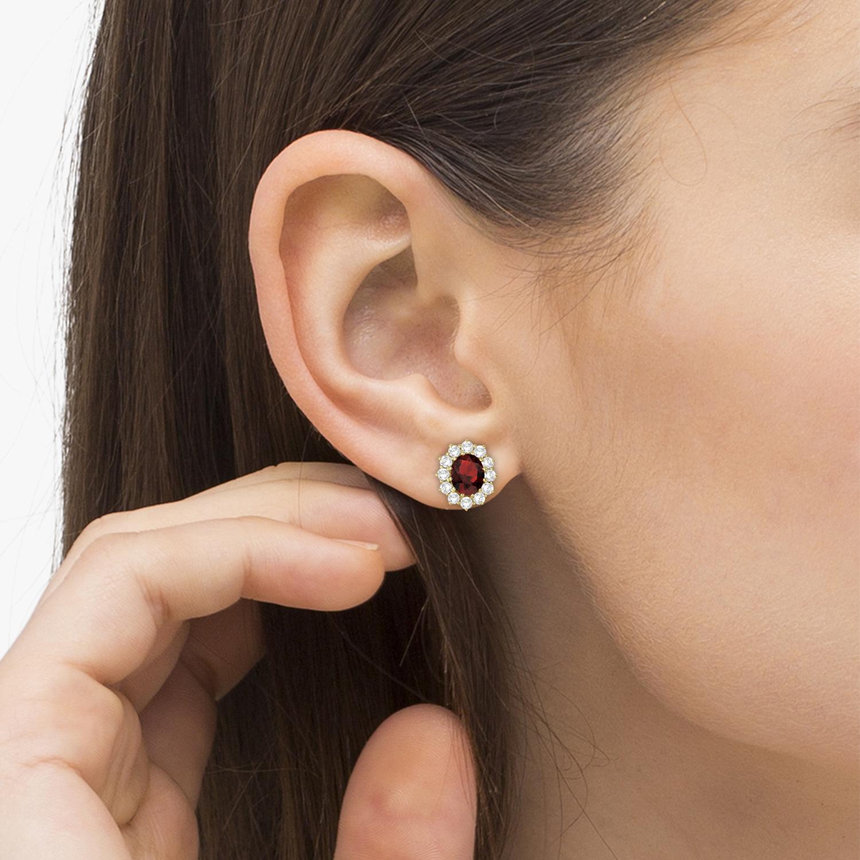 Oval Garnet and Diamond Earrings 14k Yellow Gold (7.10ctw)