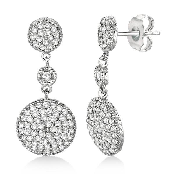 Antique Circle Dangling Drop Diamond Earrings 14k White Gold (1.05ct)