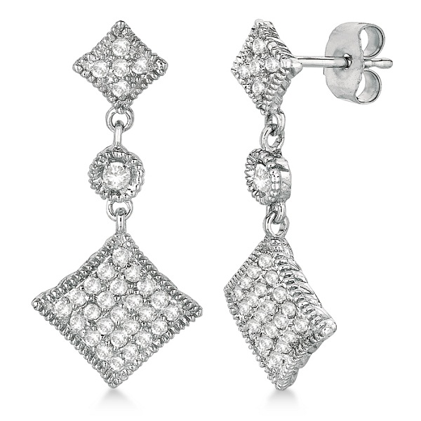 Antique Milgrain Dangling Drop Diamond Earrings 14k White Gold (0.55ct)