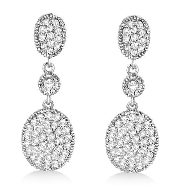 Milgrain Oval Dangling Drop Diamond Earrings 14k White Gold (0.75ct)