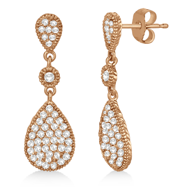Milgrain Tear Drop Dangling Diamond Earrings 14k Rose Gold (0.65ct)