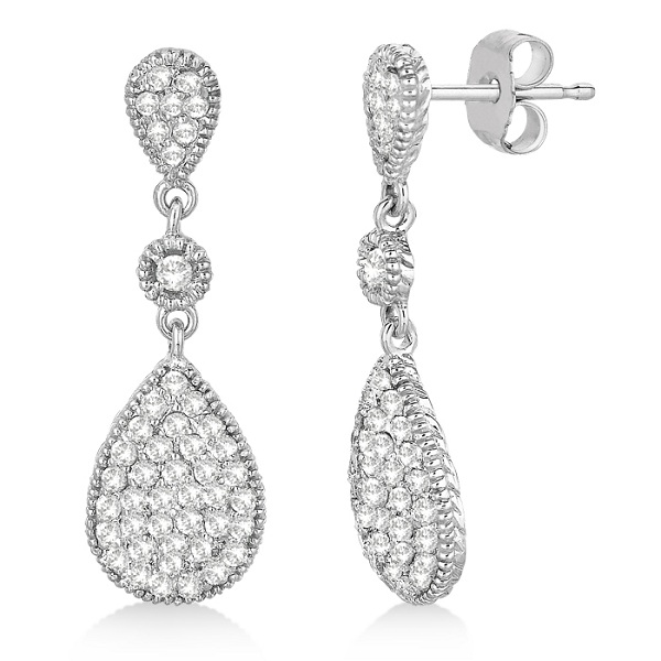 Milgrain Tear Drop Dangling Diamond Earrings 14k White Gold (0.65ct)