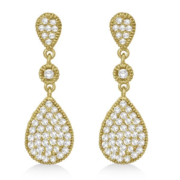 Milgrain Tear Drop Dangling Diamond Earrings 14k Yellow Gold (0.65ct)