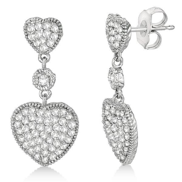 Milgrain Heart Shape Dangling Diamond Earrings 14k White Gold (0.65ct)