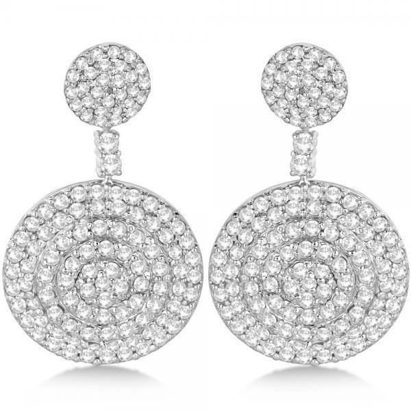 Dangling Double Circle Diamond Earrings Pave 14k White Gold (4.10ct)