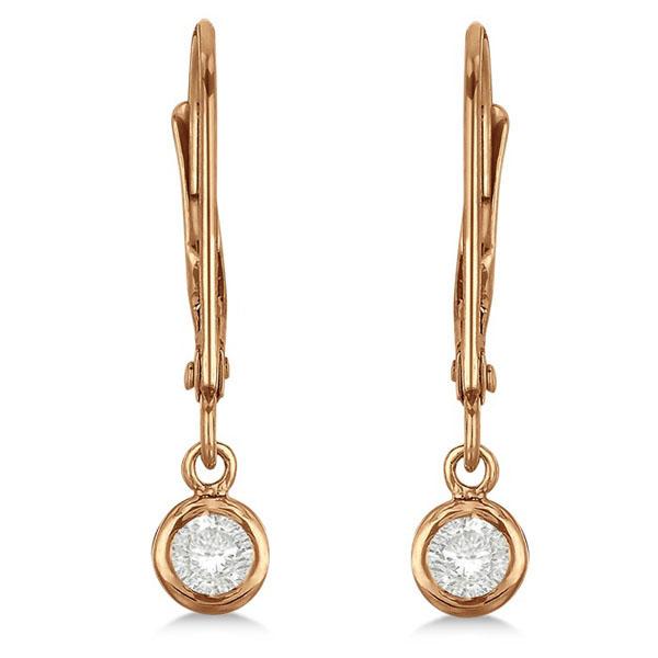 Leverback Dangling Drop Diamond Earrings 14k Rose Gold (0.20ct)