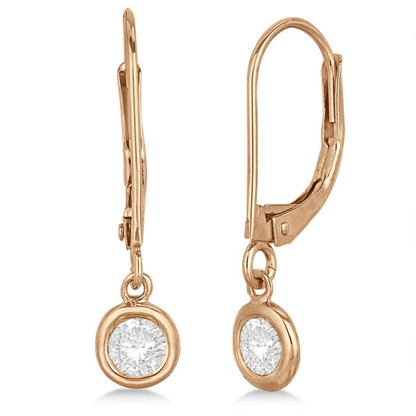 Leverback Dangling Drop Diamond Earrings 14k Rose Gold (0.40ct)