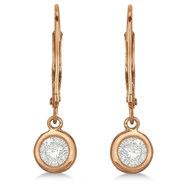 Leverback Dangling Drop Diamond Earrings 14k Rose Gold (0.50ct)