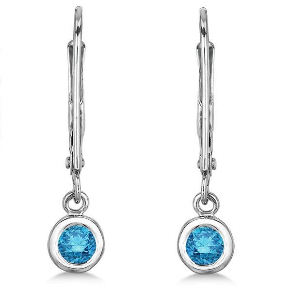 Leverback Dangling Drop Blue Diamond Earrings 14k White Gold (0.30ct)