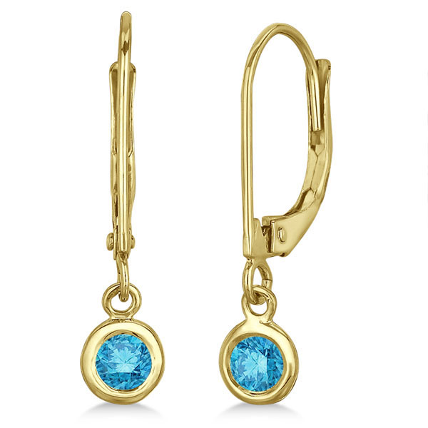 Leverback Dangling Drop Blue Diamond Earrings 14k Yellow Gold (0.30ct)