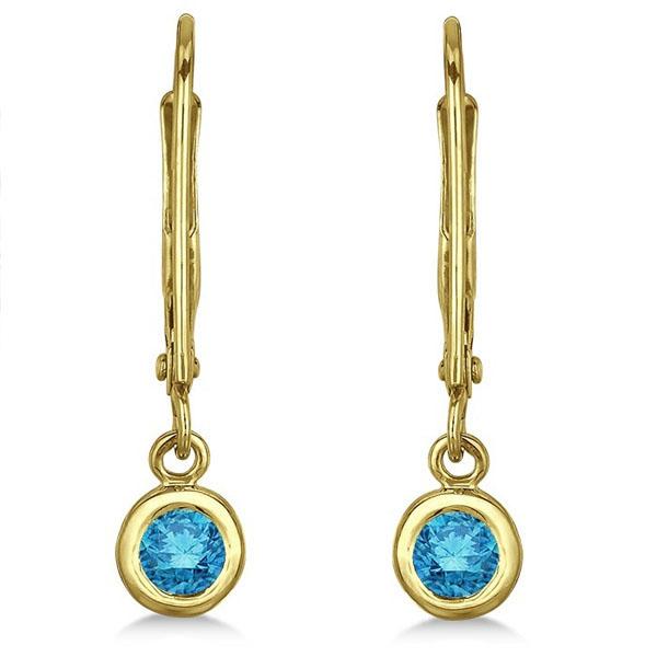 Leverback Dangling Drop Blue Diamond Earrings 14k Yellow Gold (0.30ct)