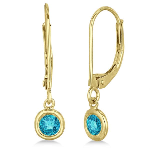 Leverback Dangling Drop Blue Diamond Earrings 14k Yellow Gold (0.40ct)