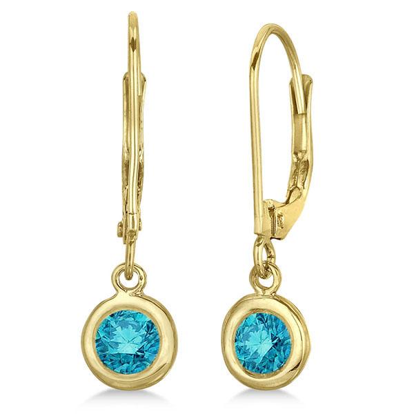 Leverback Dangling Drop Blue Diamond Earrings 14k Yellow Gold (0.50ct)