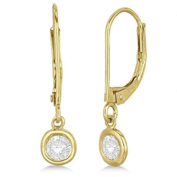 Leverback Dangling Drop Diamond Earrings 14k Yellow Gold (0.40ct)