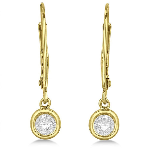 Leverback Dangling Drop Diamond Earrings 14k Yellow Gold (0.40ct)